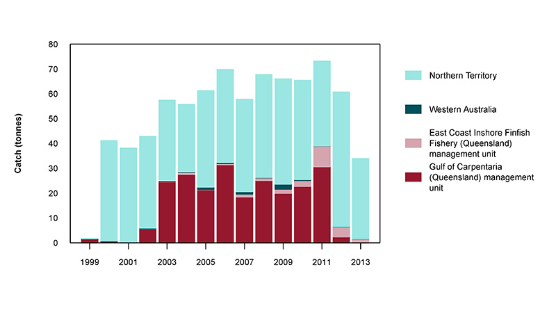 Figure 2: Commercial catch of Golden Snapper in Australian waters, 1999 to 2013 (calendar years)