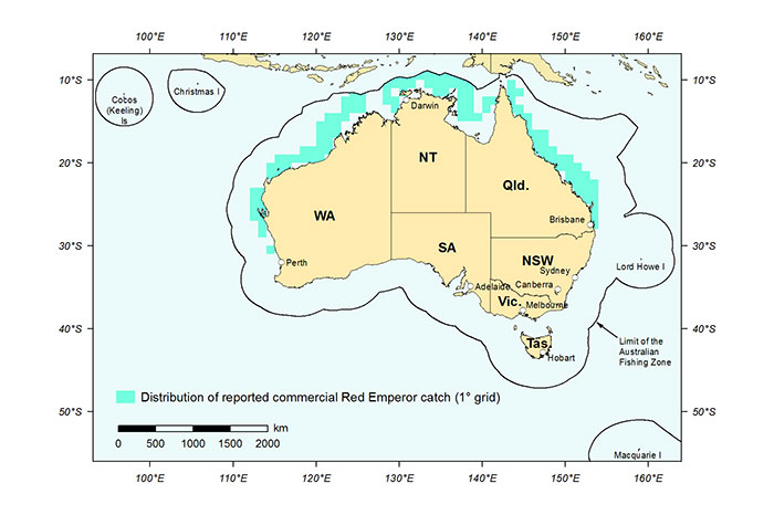 Figure 1: Distribution of reported commercial catch of Red Emperor in Australian waters, 2013 (calendar year)